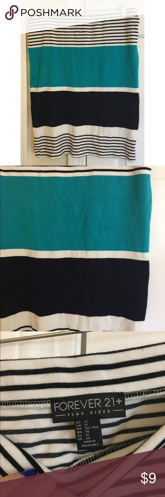 Stretchy fitted skirt from forever21+ This skirt is great for going to work, going out, and everything in between! The teal, black and white colors and stripes make it fun while the simple and formfitting shape keeps it classic. Forever 21 Skirts Mini