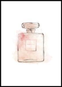 Stilig fashion-plakat med rosa parfymeflaske