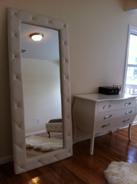 Leaning Mirror With Tufted Padded Frame Bedroom Soft Plush