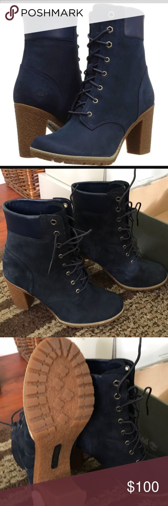 Timberland heeled boots Heeled timberlands. Navy blue Timberland Shoes Winter & Rain Boots