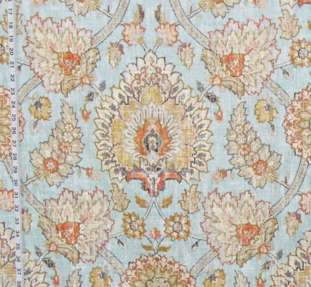 Blue Craftsman rug fabric Persian Arts and Crafts linen pastel orange from Brick House Fabric: Novelty Fabric