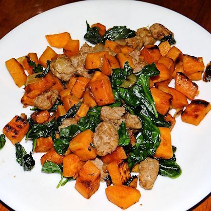 Sweet Potato, Spinach, and Turkey Sausage Hash - add thyme and rosemary, red pepper flakes, garlic powder, use coconut oil