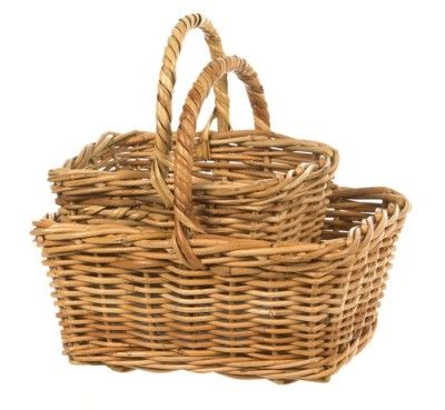 Vintage Cane Rectangular shopping Basket small - Lifestyle Home and Living