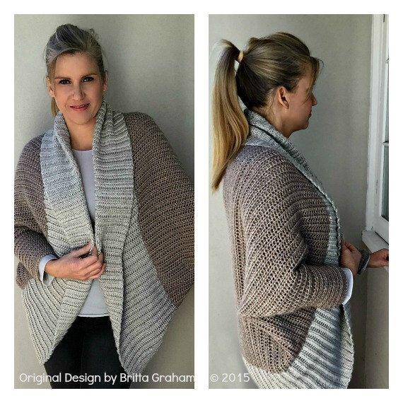 Crochet Shrug Pattern - Oversized Sweater Cardigan Crochet Pattern in One Size No.922 Digital Pattern Instant Download by bubnutPatterns on Etsy https://www.etsy.com/listing/158362419/crochet-shrug-pattern-oversized-sweater