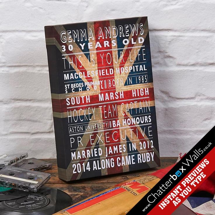 Personalised Life Story typographic word art canvas print in cool britannia