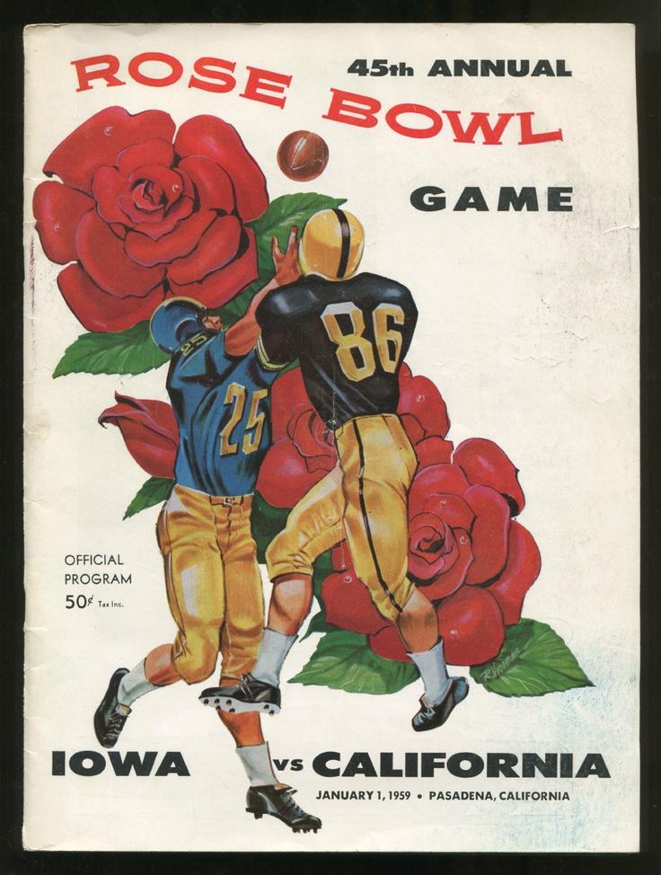 1959 Rose Bowl Game Program between Iowa vs. California