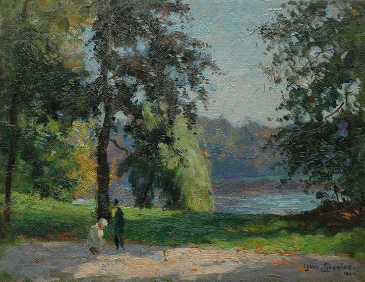 In het park, olieverf op doek op paneel 27,2 x 35,1 cm, gesigneerd r.o. en gedateerd 1920