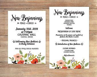 New Beginnings 2018 - Invitation - Program - Peace in Christ - Digital File - Young Women - Personal Progress - Learn of Me