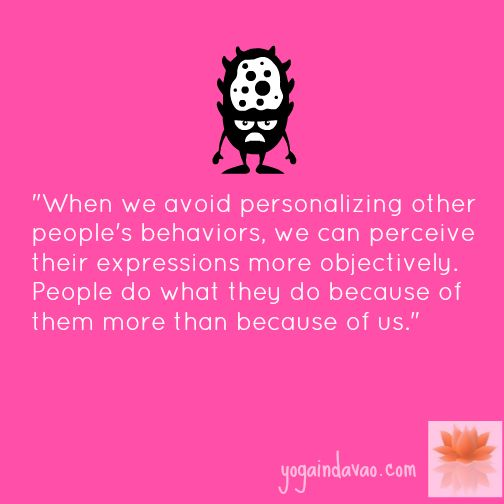 Yoga in Davao Quote: When We Avoid Personalizing