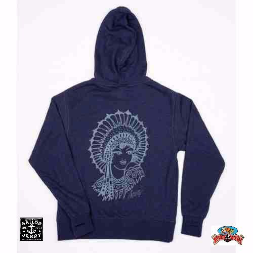 """Womens Proud Maiden Zip Hoodie in Navy by Sailor Jerry will make you feel comfortable and secure.  #Navy #AutumnFashionforWomen #AutumnFashionIdeas #AutumnFahion #Hoodie #SailorJerry #RuffnReadyAus  """""""