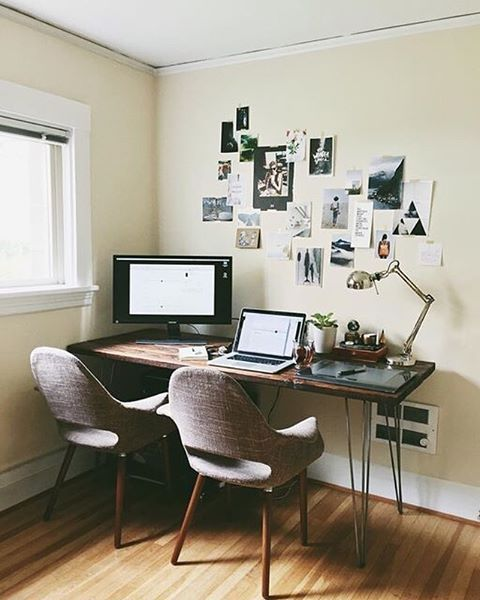 Shared #workspacegoals + regram from @juliamanchik in the USA ✨✨ This workspace belongs to Julia, a graphic designer, photographer + one half of @themanchiks We're going for the hairpin leg desk, inspo wall + that lovely pair of chairs If you're a travel lover, you'll love Julia's feed...so many adventures! Thanks Julia for inspiring us with your workspace ideas for two