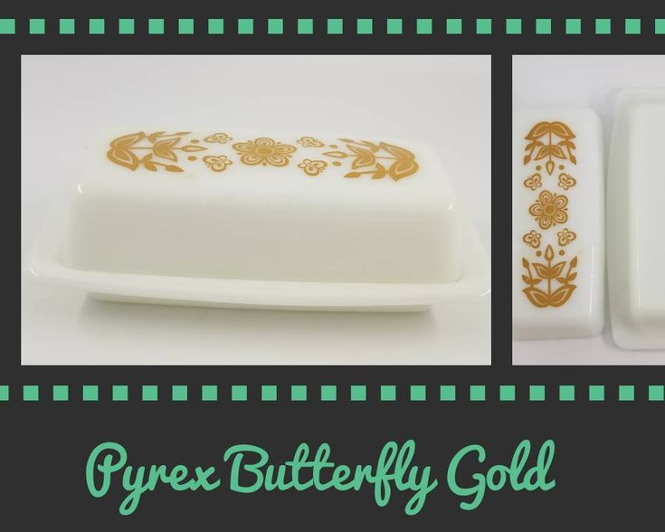 Excited to share the latest addition to my #etsy shop: Vintage Pyrex Butter Dish Butterfly Gold Milk Glass #pyrex #midcentury #housewares http://etsy.me/2oP67KZ