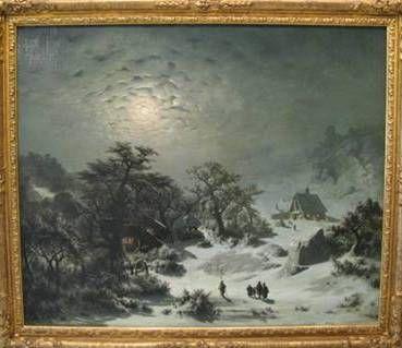 Adolf Kosárek - Zimní noc (1857, NG Praha)