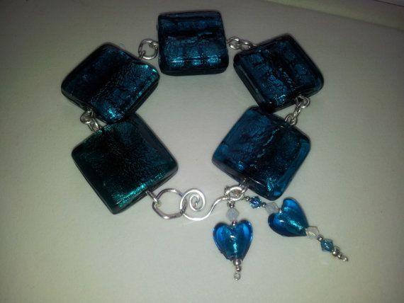 HALF PRICE SALE Aqua blue green foiled glass by OnenJewellery, £10.00