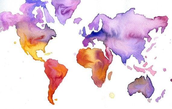 Watercolor World Map Illustration Your by JessicaIllustration, $25.00