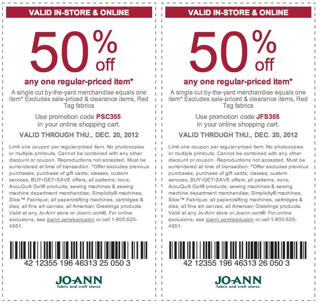 8 best coupons and good deals images on pinterest printable jo ann fabric coupon jo ann fabric promo code from the coupons app off a single item at jo ann fabrics or online via checkout promo december fandeluxe Choice Image