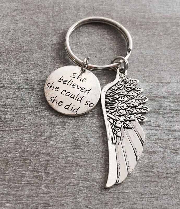 She believed she could so she did, Graduation Gift, Congratulations, College Student, Inspirational Jewelry,  Silver Keychain,Keyring by SAjolie, $19.95 USD