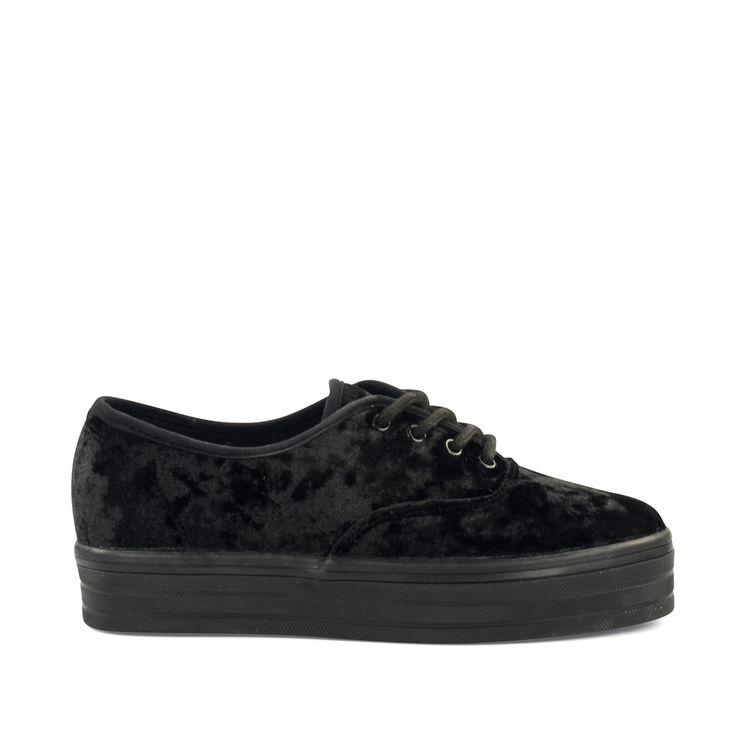 Zwarte platform sneakers fluweel