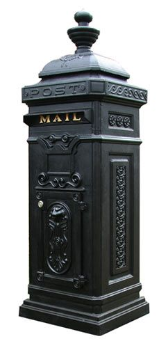 The Ecco 8 Tower mailbox has a stately Victorian style featuring crisp and elegant classical motifs on all four sides. The Ecco 8 is constructed of cast aluminum and finished with a durable powder coat paint finish.