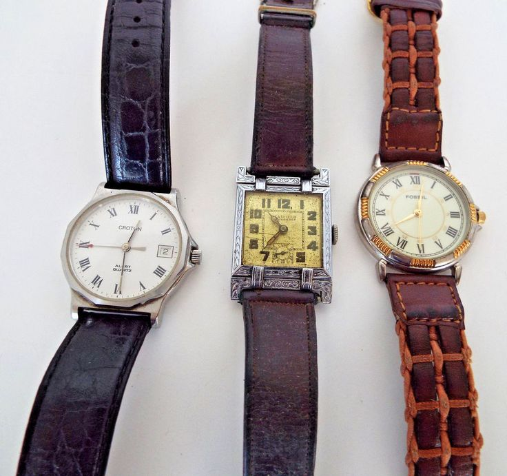 3 Pc Estate Lot Watches For Parts Repair Croton Swiss Made Fossil Westfield