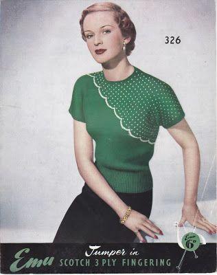 Emu knitting pattern 1950s