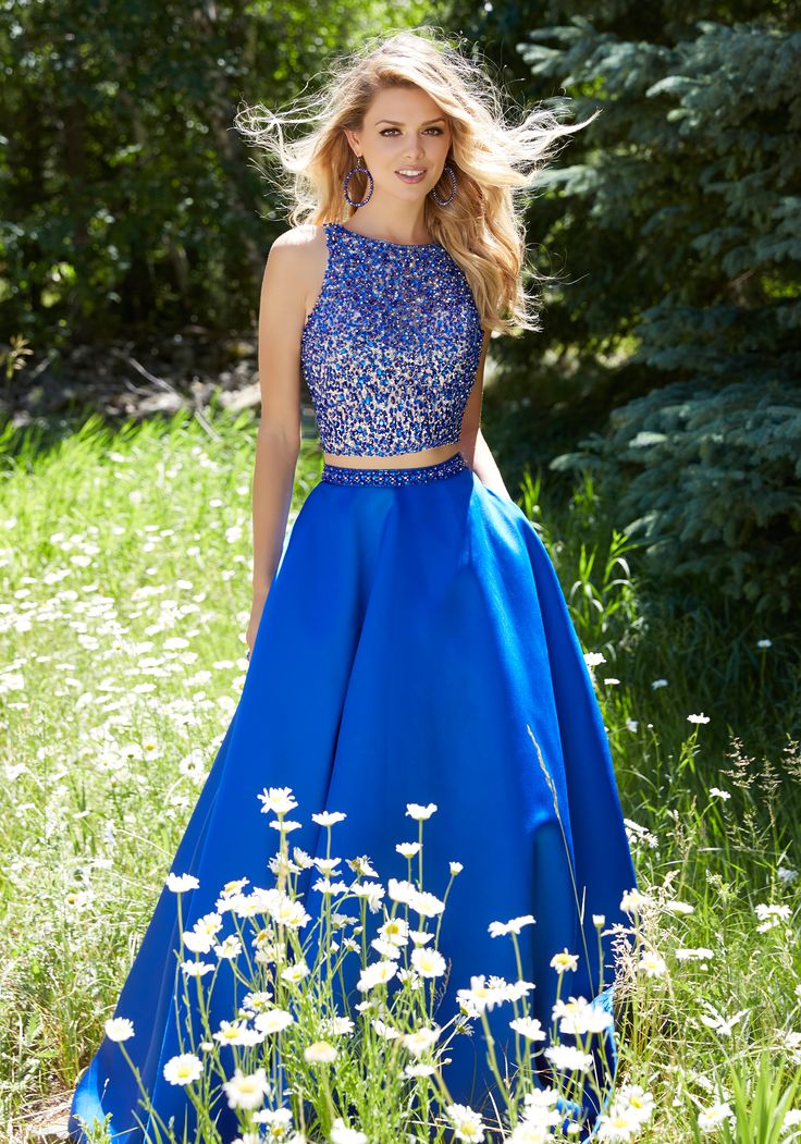 Prom Dresses by Morilee designed by Madeline Gardner. Elegant and gorgeous Two-Piece Prom Dress with A-Line Larissa Satin Skirt and Fully Beaded Net Top.