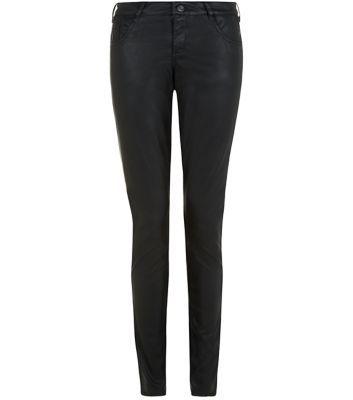 Black Leather-Look Skinny Jeans