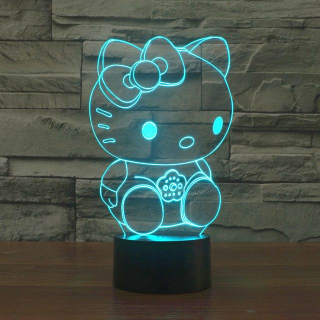 Adorable Sitting Hello Kitty 3D Optical Illusion Lamp