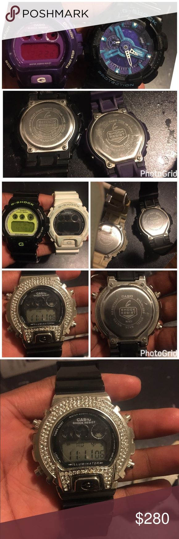 G-shock watches Hello I have 5 g-shock watches for sale  Purple SOLD White  Black and green  Black and blue  And the black and metal  All are authentic Casio watches Casio Accessories Watches