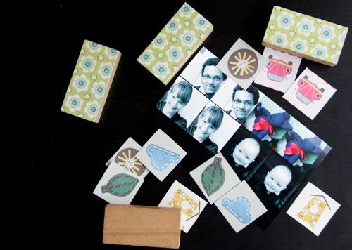 Toddler dominoes.  Ask the families to bring in photos of themselves and their children and tape them onto the blocks.