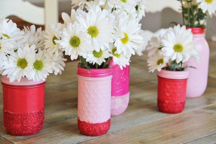 Einweckglas-Vasen in pinken Nuancen und mit Glitzer