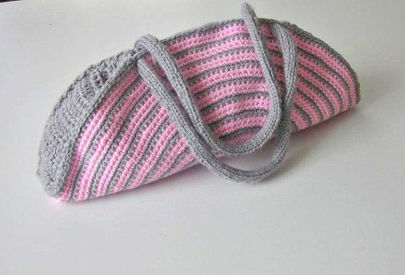 ... , Crochet Bag, Clutch, Colorful, Pink, Gray, Shabby, Chic, Circle
