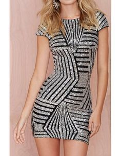 Short Sleeve Backless Geo Stripe Sequin Silver Bodycon Mini Club Dress