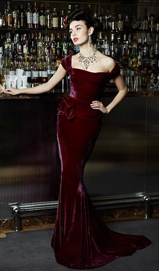 Angelina Colaruso dark burgandy red velvet elegant evening dress gown couture glamour vintage