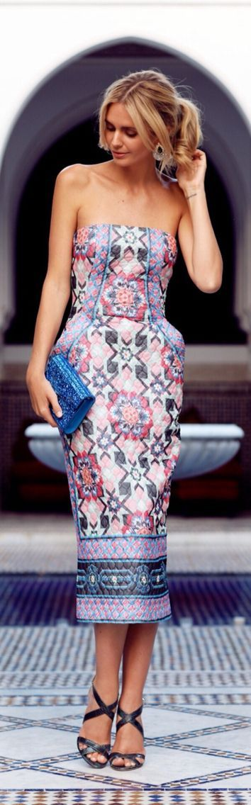 Cute Patterned Dress with Blue Clutch Purse