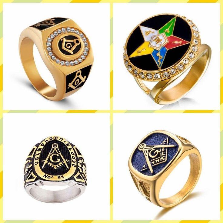 2017 Europe Us Retro 316L Titanium Steel Masonic Sign Ring;714#