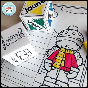 "FREE French clothing vocabulary coloring worksheet: roll and color – have students practice both vocabulary for ""les vêtements d'hiver"" as well as color words!"
