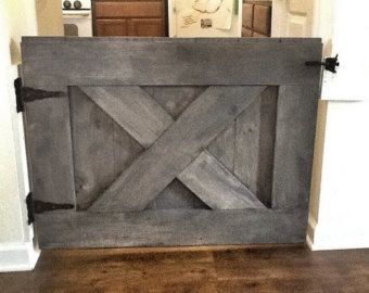 Rustic Dog/ Baby Gate Barn Door Style w/ side by LoNineDesigns