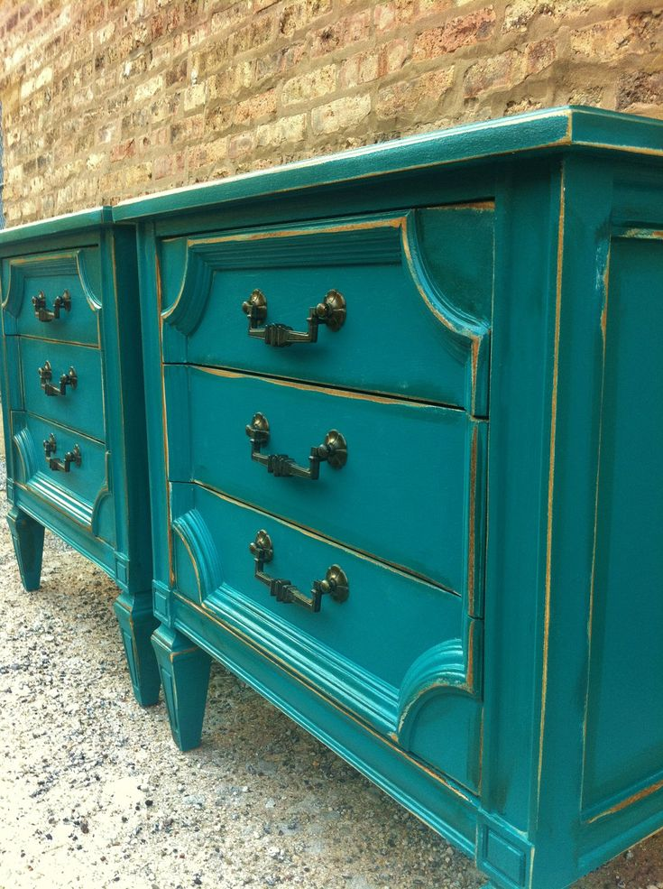 Vintage End Tables In a Perfect Teal. $250.00, via Etsy.