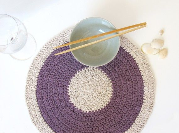 Purple placemat - eco friendly decor - summer home decor -  Mauve Lilac and natural colour - SALE 40% OFF on Etsy, $27.70 CAD