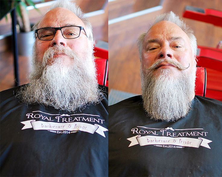 Fantastic beard and moustache! Beautiful shades of grey. Before and after a trim at the barbershop Royal Treatment in Ängelholm, Sweden. Barber: Mohammad Alasmar