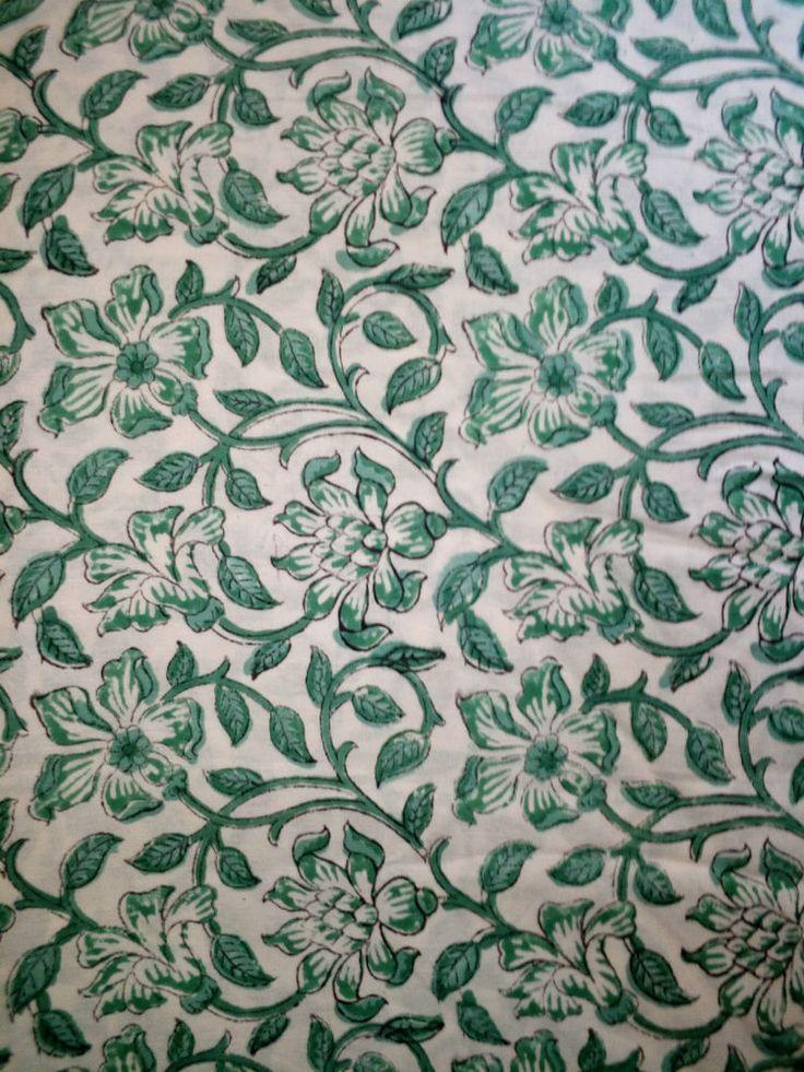 Cotton Material Hand Block Print Handmade 2.5 Yards Sanganeri Natural Fabric Art #Handblock