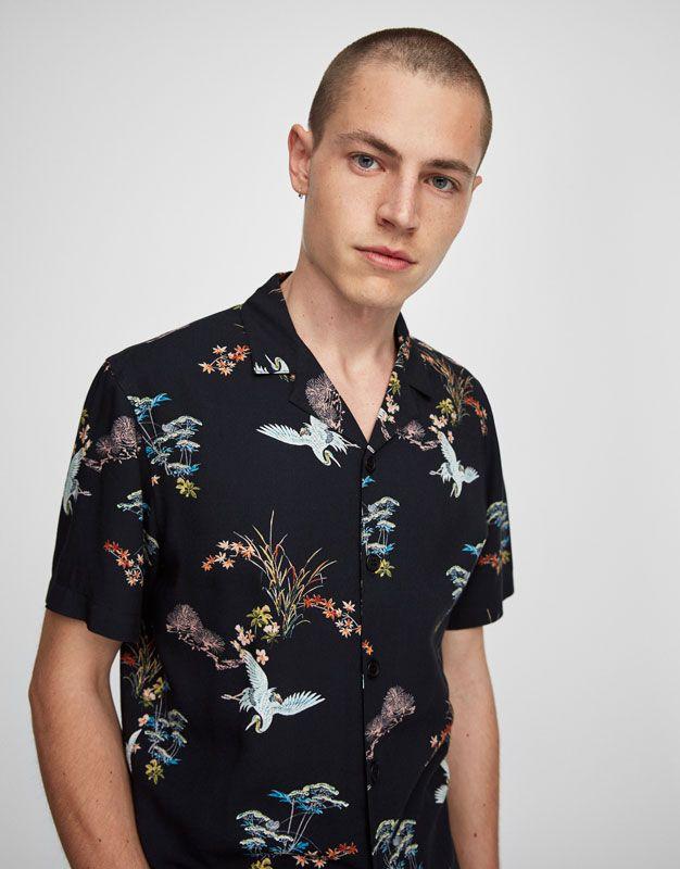 Pull&Bear - heren - nieuwigheden - overhemd met korte mouw all-over-print vogels - zwart - 05471531-I2017