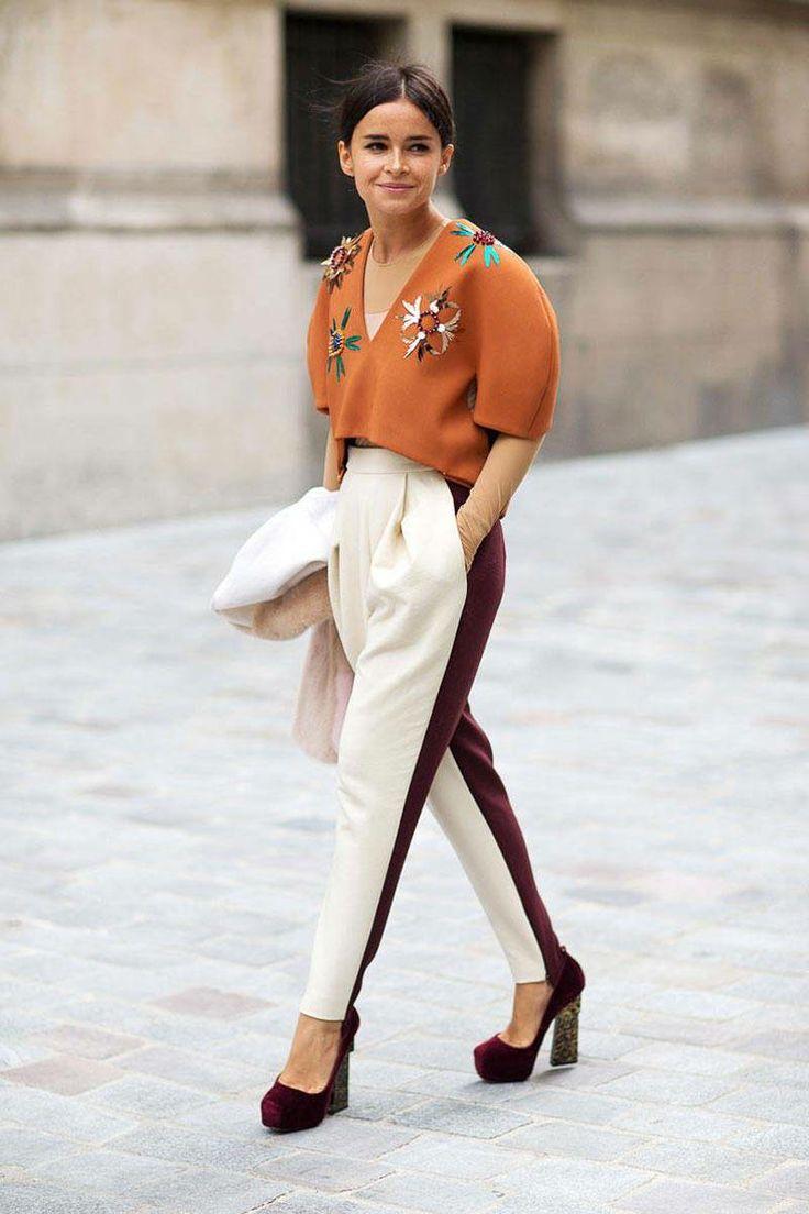 Miroslava Duma Street Style - Fashion Week Street Style - What: Delpozo - When: Paris Fashion Week, February 2014