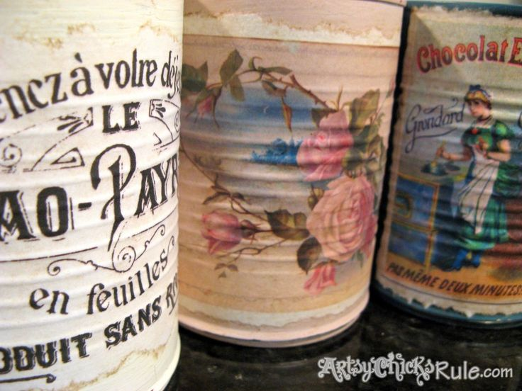 "Old tins recycled/repurposed into ""vintage"" cans/utensil holder/flower vase. - artsychicksrule.com"
