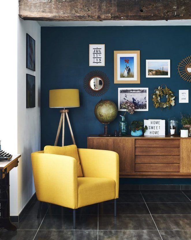 Salon Bleu Et Jaune 17 Idees Deco Pour Associer Ces Couleurs Decoration Salon Bleu Deco Bleue Deco Salon