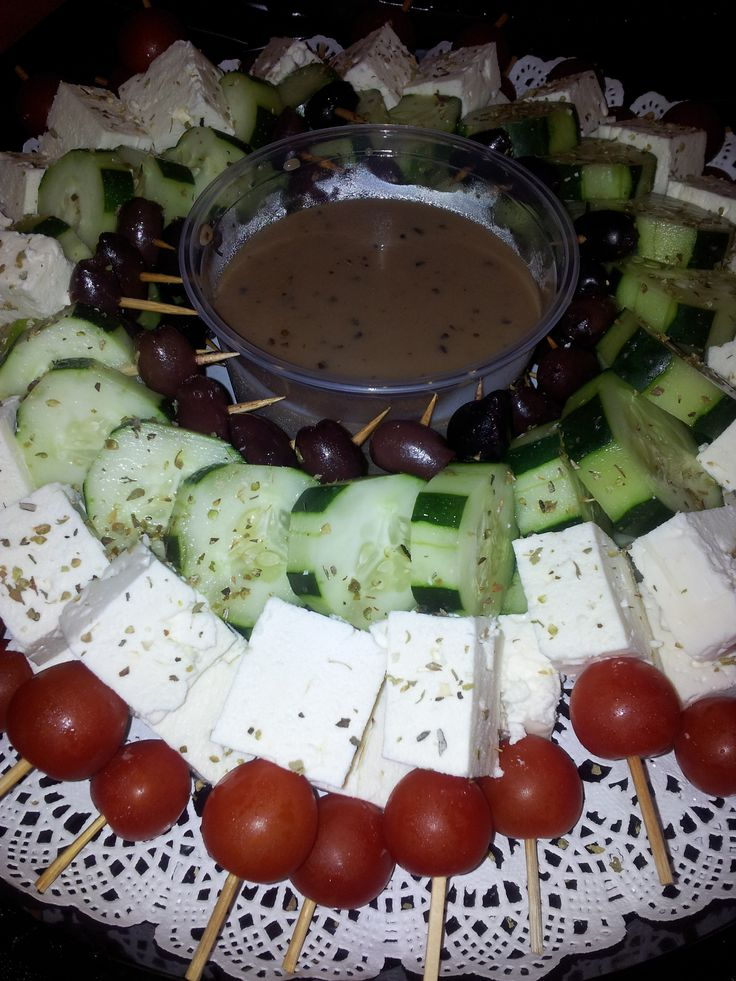 Greek Salad on a Stick with Balsamic Vinaigrette!
