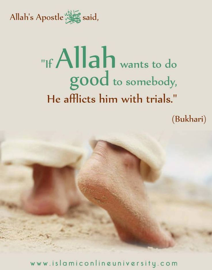 "Narrated Abu Huraira: Allah's Apostle said, ""If Allah wants to do good to somebody, He afflicts him with trials."" [Bukhari, Vol. 7, Book 70, Hadith 548]"