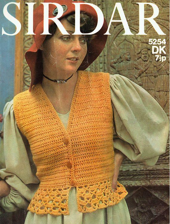 PDF Vintage 1970s Womens Ladies Crochet Pattern Waistcoat