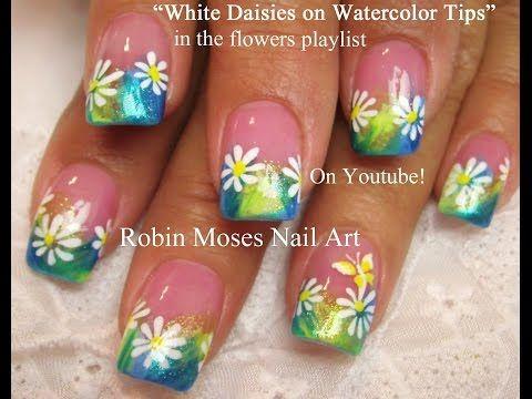 Easy Nail Art Tutorial   DIY Nails   Pastel Daisy Design! - YouTube